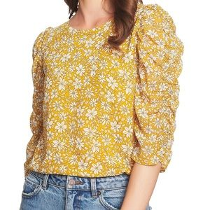 1.STATE Wild Blooms Ruched Sleeve Blouse